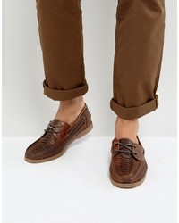 Asos Boat Shoes In Brown Leather With Woven Detail