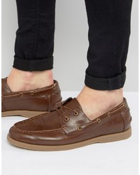 Asos Boat Shoes In Tan Faux Leather With Gum Sole