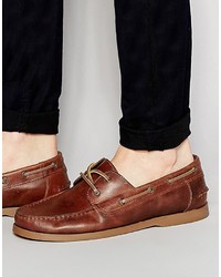 Asos Brand Boat Shoes In Leather