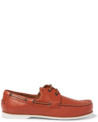 Bottega Veneta Intrecciato Leather Boat Shoes