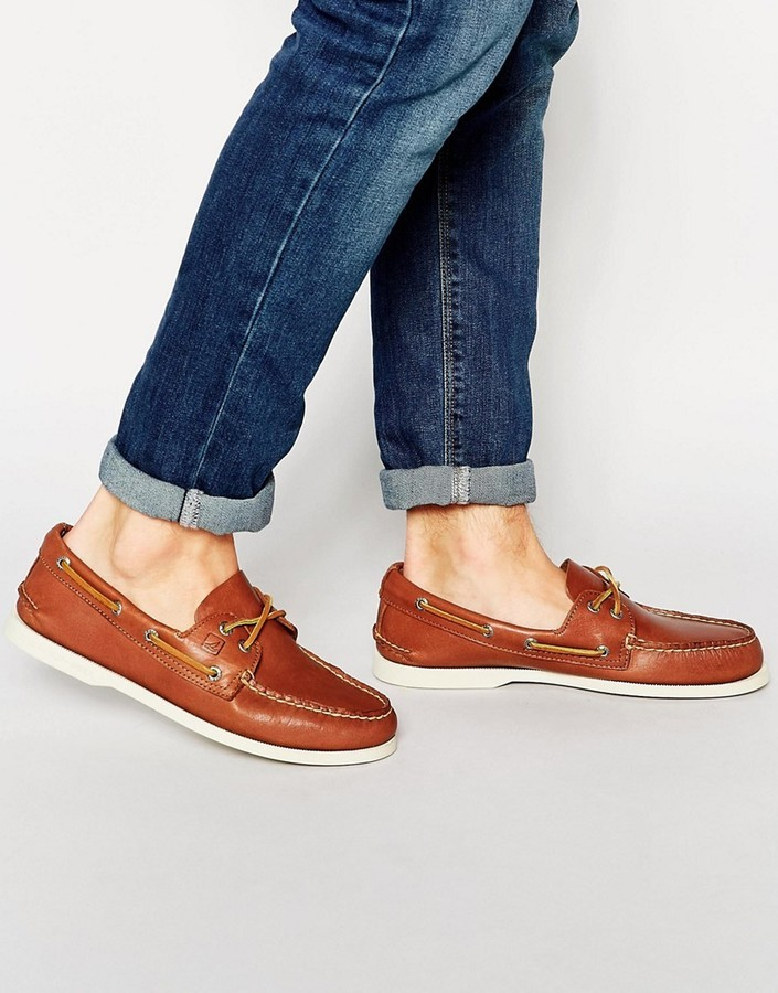 Sperry Topsider Leather Boat Shoes, $145 | Asos | Lookastic.com