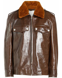 Calvin Klein 205w39nyc Leather Jacket With Shearling Collar