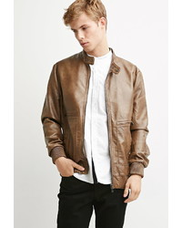 21men 21 Faux Leather Snap Collar Jacket