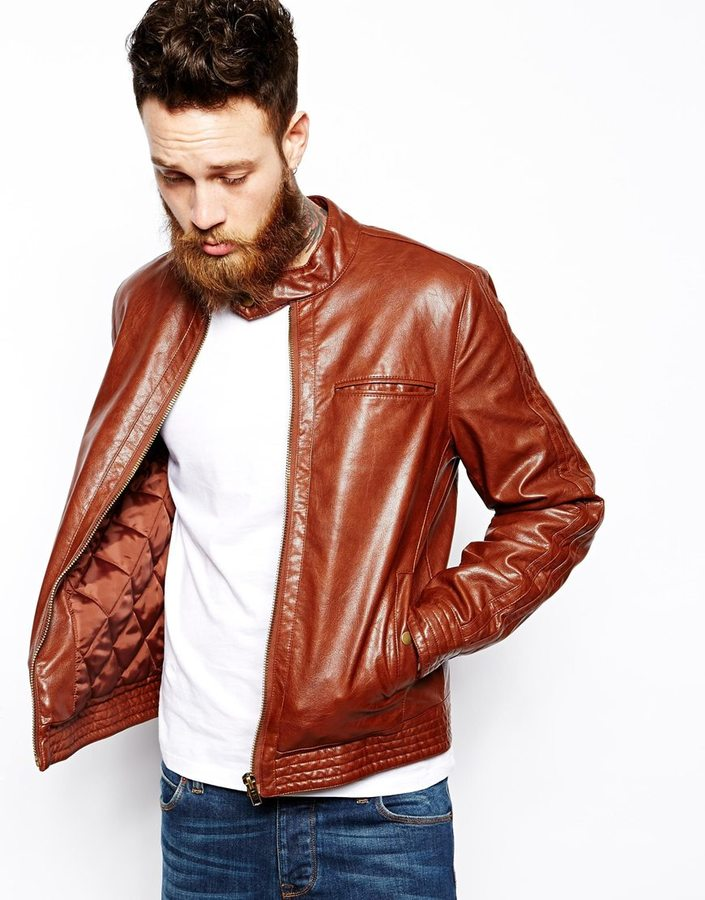 b4751feef9d2 Asos Brand Faux Leather Biker Jacket, $86 | Asos | Lookastic.com