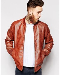 Asos Brand Faux Leather Bomber Jacket