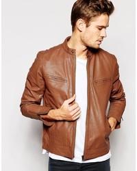 Asos Brand Leather Biker Jacket
