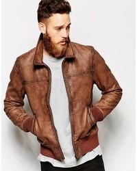 Asos Brand Leather Harrington