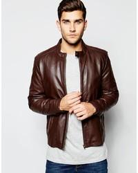 Asos Brand Leather Racing Biker Jacket In Brown