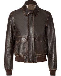 Burberry Brit Leather Norrice Jacket In Dark Brown