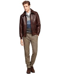 Brooks Brothers Leather Bomber Jacket