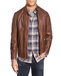 Schott NYC Cafe Racer Slim Fit Leather Jacket