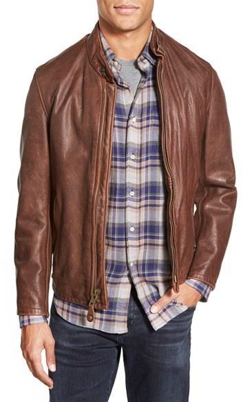 Schott NYC Cafe Racer Slim Fit Leather Jacket