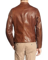 Schott NYC Cafe Racer Slim Fit Waxy Leather Moto Jacket