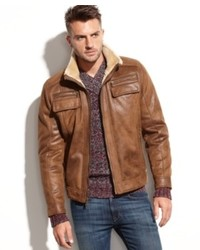 Calvin Klein Jacket Faux Shearling Lined Faux Leather Jacket