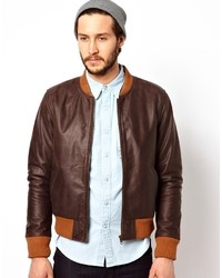 Edwin Leather Jacket Tour Bomber Brown
