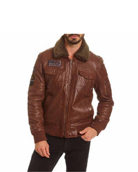 Excelled Leather Leather Bomber Jacket