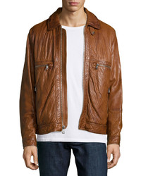 Andrew Marc Exeter Leather Trucker Jacket Brown