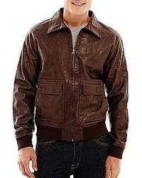 Arizona Faux Leather Bomber Jacket