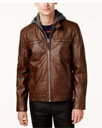GUESS Faux Leather Detachable Hood Motorcycle Jacket