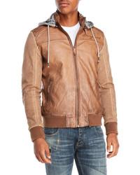 Desigual Faux Leather Hooded Bomber Jacket