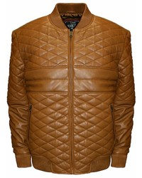 Franchise Club Franchise Club Double Diamond Quilted Lambskin Leather Bomber Jacket