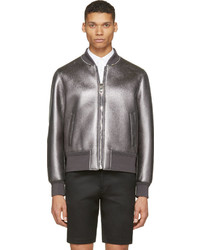 Neil Barrett Gunmetal Metalllic Leather Bomber Jacket