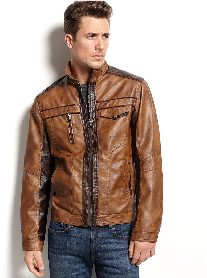INC International Concepts Jones Faux Leather Jacket ...