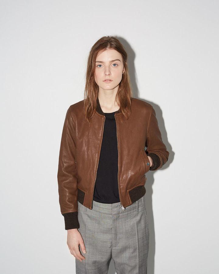 63001e40e $960, Etoile Isabel Marant Isabel Marant Toile Brantley Leather Bomber