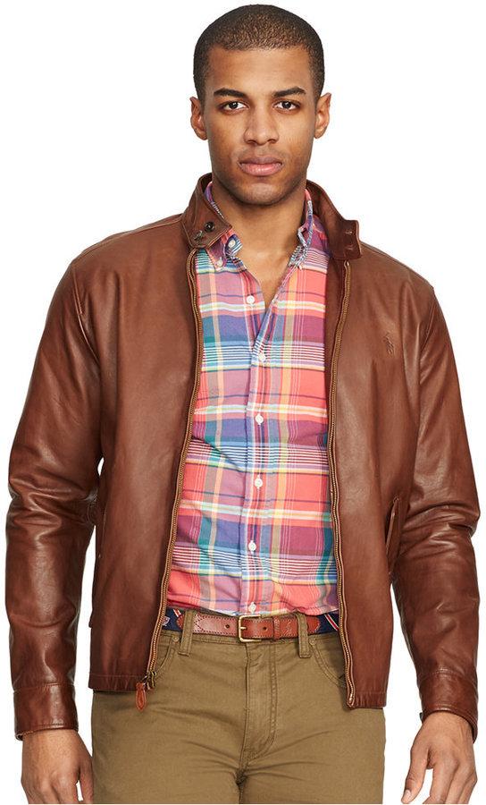 5ba55e674 Ralph Lauren Mens Leather Jacket Brown