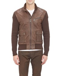 Ralph Lauren Black Label Leather Knit Sweater Jacket Brown