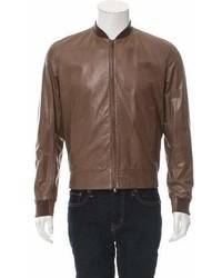 Brunello Cucinelli Leather Rib Knit Trimmed Jacket W Tags