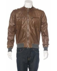 Brunello Cucinelli Leather Zip Up Jacket W Tags