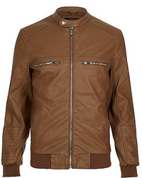 River Island Light Brown Leather Look Bomber Jacket