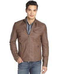 Brunello Cucinelli Light Brown Leather Zip Front Jacket