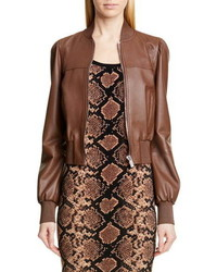 Michael Kors Collection Michl Kors Puff Sleeve Crop Leather Jacket