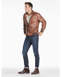 e45b011bb $209, Lucky Brand Northridge Leather Bomber Jacket