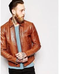 Nudie Jeans Nudie Leather Jacket Dean Tan Biker