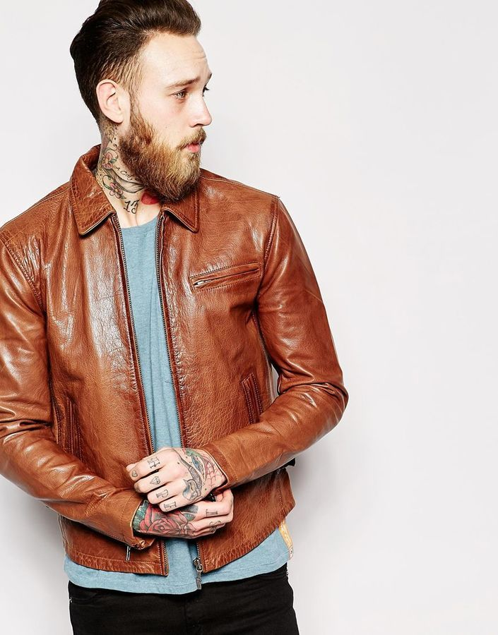 Nudie Jeans Nudie Leather Jacket Dean Tan Biker