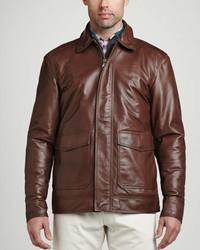 Peter Millar Maverick Leather Bomber Jacket Chocolate
