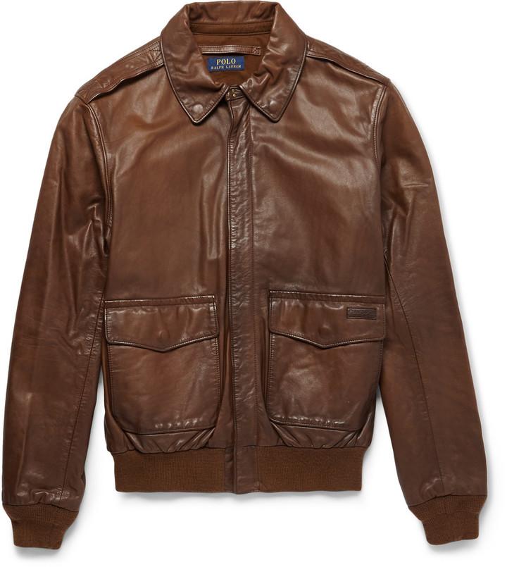 polo ralph lauren type a2 leather bomber jacket. Black Bedroom Furniture Sets. Home Design Ideas