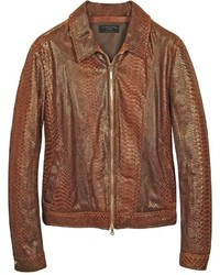 Forzieri Python Leather Motorcycle Jacket