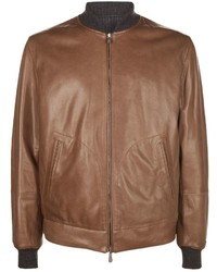 Brunello Cucinelli Reversible Leather Bomber Jacket