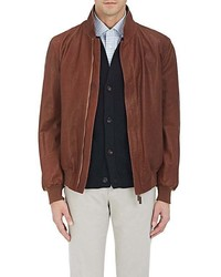 Luciano Barbera Reversible Leather Broadcloth Bomber Jacket