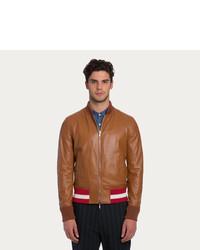 Bally Reversible Leather Jacket Reversible Tan Leather Varsity Jacket
