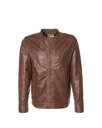 Selected Homme Will Leather Jacket Brown