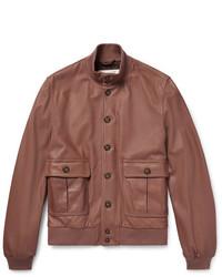 Valstarino Washed Leather Bomber Jacket