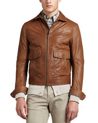 Vince Patch Pocket Leather Bomber Jacket Camel