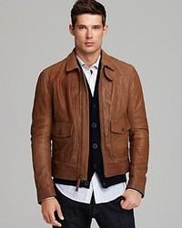 Vince Patch Pocket Leather Jacket