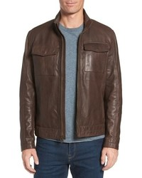 Cole Haan Washed Leather Trucker Jacket