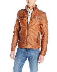 X-Ray Slim Fit Over Washed Faux Leather Jacket